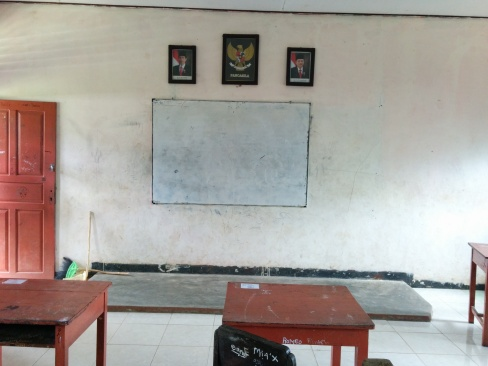 Front of the classroom.